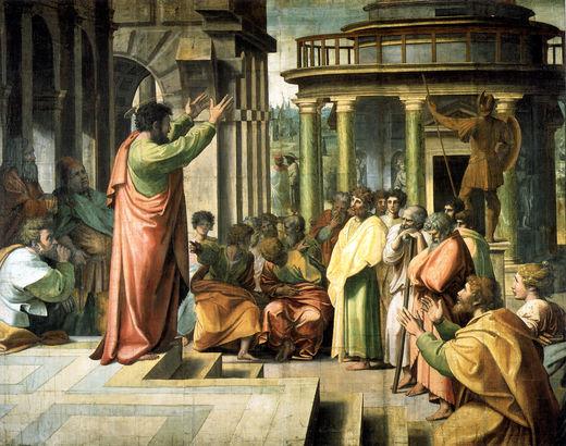 O encontro entre o Evangelho e  a Paidéia grega. São paulo em Atenas. Fonte da Imagem: checar.files.wordpress.com/2013/07/saintpaul-preaching-in-athens.jpg